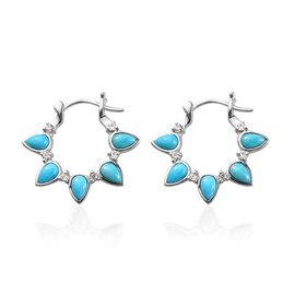 Arizona Sleeping Beauty Turquoise and Natural Cambodian Zircon Earrings (with Clasp) in Platinum Ove