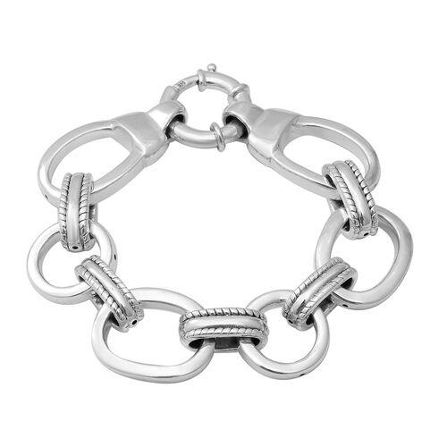 Link Bracelet with Senorita Clasp in Sterling Silver 23.10 Grams 8 Inch