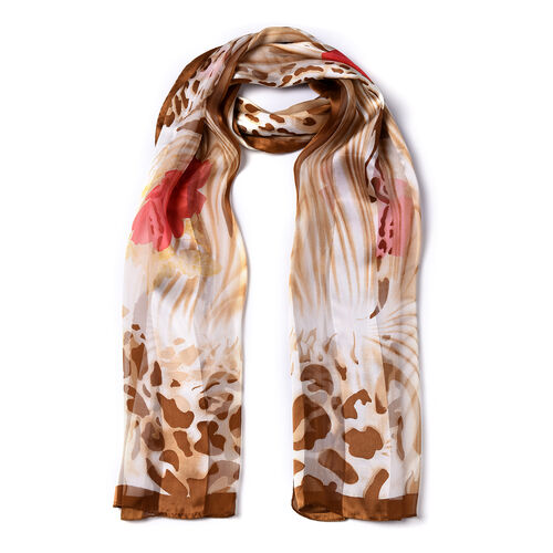 LA MAREY 100% Mulberry Silk Red Floral & Leopard Print Scarf  in Gift Box (165x50cm)