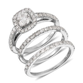 New York Close Out- Set of 3- 14K White Gold AGI Certified Diamond (SI2-I1 /G-H) (Rnd) Ring 1.750 Ct, Gold wt 7.60 Gms