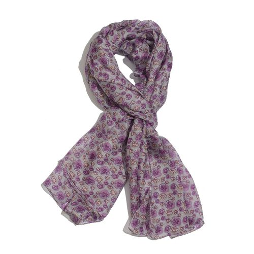 100% Mulberry Silk Purple and Multi Colour Floral Pattern Grey Colour Scarf (Size 180x100 Cm)