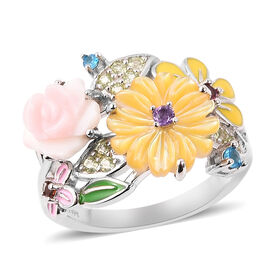 Jardin Collection Pink Mother of Pearl Floral Ring in Rhodium Plated Sterling Silver