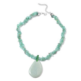 Green Aventurine, Simulated Emerald Adjustable Necklace (Size 20 with 2 inch Extender) in Silver Ton