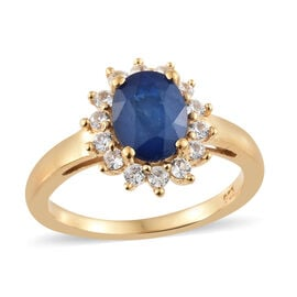 Blue Spinel (Ovl 1.50 Ct), Natural Cambodian Zircon Ring in 14K Gold Overlay Sterling Silver 2.250 C