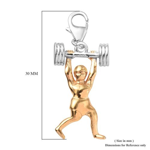 Platinum and Yellow Gold Overlay Sterling Silver Weight Lifter Charm