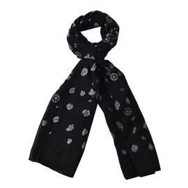 Black Colour Leopard and Flower Pattern Scarf (Size 180x70 Cm)