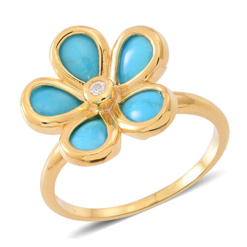 Arizona Sleeping Beauty Turquoise (Pear), Natural White Cambodian Zircon Floral Ring in 14K Gold Overlay Sterling Silver 2.750 Ct.