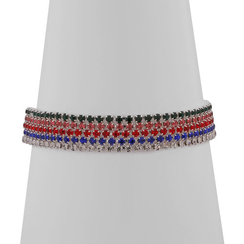 Set of 5 - Red, Pink, White, Blue and Green Austrian Crystal Bracelet (Size 8.5) in Silver Tone
