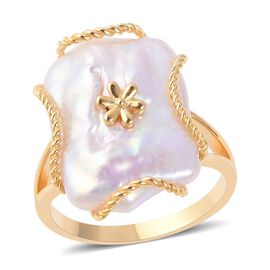 Keshi Pearl Ring in Yellow Gold Overlay Sterling Silver