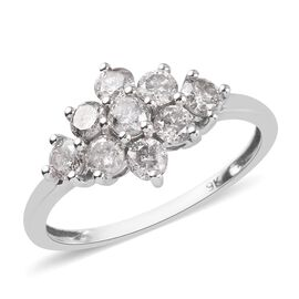 1 Carat Diamond Cluster Boat Ring in 9K White Gold