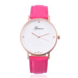 GENOA Diamond Studded Dial Watch with Fuchsia Colour Strap