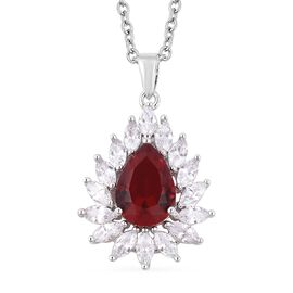 Simulated Ruby and Simulated Diamond Halo Pendant With Chain in Stainless Steel 20 Inch