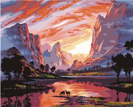 Super Find - Painting By Numbers - Mountain (includes Wooden Frame, 3xPaintbrush, 25xPaints, 2xHooks