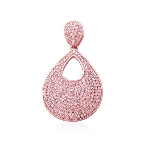9K Rose Gold Very Rare Natural Pink Diamond (Rnd) Teardrop Pendant 1.00 Ct.