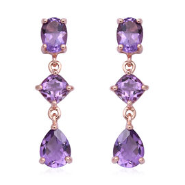 Rose De France Amethyst (Cush, Pear and Ovl) Dangle Earrings (with Push Back) in Rose Gold Overlay S