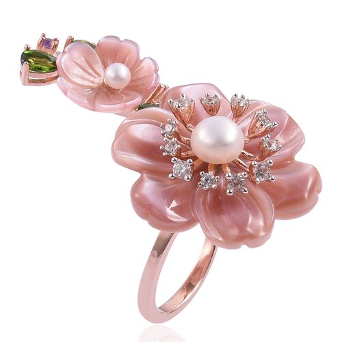 Jardin Collection - Pink Mother of Pearl, Fresh Water Pearl, Russian Diopside and Multi Gemstone Flower Ring in Rose Gold Overlay Sterling Silver