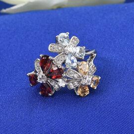 GP Italian Garden Collection - Mozambique Garnet, Kanchanaburi Blue Sapphire and Multi Gemstone Ring in Platinum Overlay Sterling Silver 2.53 Ct.