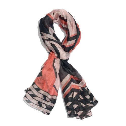 100% Mulberry Silk Peach, Black and Multi Colour Handscreen Stripes Printed Scarf (Size 200X170 Cm)
