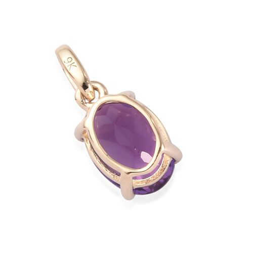 9K Y Gold AA Amethyst Solitaire Pendant 0.75 Ct.