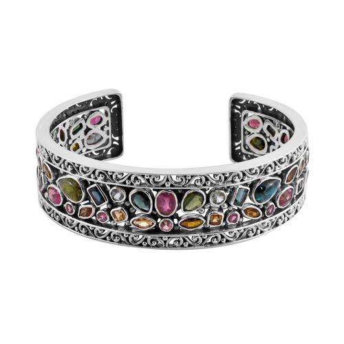 Bali Legacy Collection - Multi-Tourmaline Bangle (Size 7.5) in Sterling Silver 21.85 Ct, Silver wt.