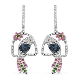 London Blue Topaz, Rhodolite Garnet, Russian Diopside and Natural White Cambodian Zircon Stone Parrot Earrings (with Clasp Lock) in Sterling Silver 2.330 Ct, Silver wt. 5.22 Gms