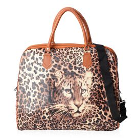 Leopard Pattern Tote Bag with Detachable Shoulder Strap and Zipper Closure (Size 43x20x38 Cm)- Yello