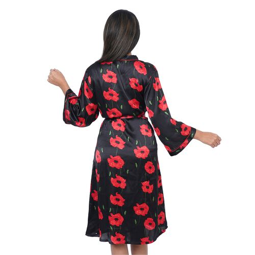 Poppy Floral Printed Satin Robe with Bell Sleeve (Size S  8-10) - Black