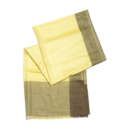Limited Available - 100% Cashmere Wool Canary Yellow Colour Scarf (Size 200x70 Cm)
