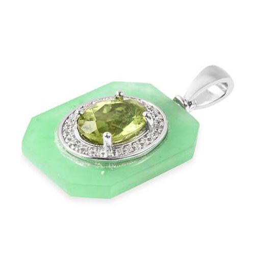AA Hebei Peridot, Green Jade and Natural Cambodian Zircon Pendant in Rhodium Overlay Sterling Silver 6.70 Ct.