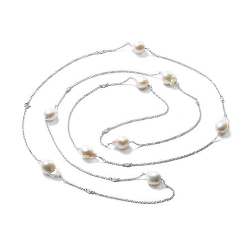 Isabella Liu Twilight Collection - Baroque Edison Pearl and Diamond Necklace (Size 60) in Rhodium Overlay Sterling Silver, Silver wt 13.56 Gms