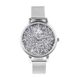 STRADA Japanese Movement Silver Crystal (Rnd) Water Resistant Watch in Stainless Steel