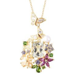 Jardin Collection - Prasolite (Cush 10x8 mm), Freshwater Pearl and Multi Gemstone Butterfly Floral P