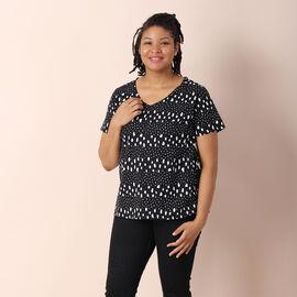 Jovie  100% Cotton Jersey Print Short Sleeved With Dot Pattern Top - Black