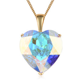 J Francis - Crystal from Swarovski AB Crystal (Hrt) Solitaire Pendant with Chain (Size 30) in 14K Go