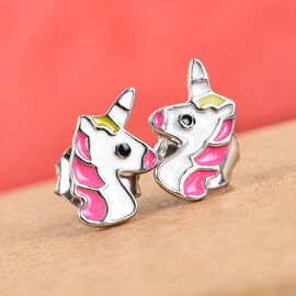 Platinum Overlay Sterling Silver Enamelled Unicorn Stud Earrings (with Push Back)