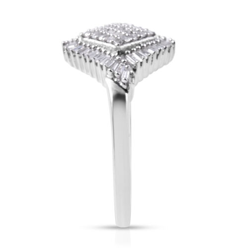 9K White Gold SGL Certified Diamond (Bgt and Rnd) (I3/G-H) Ring 0.500 Ct.