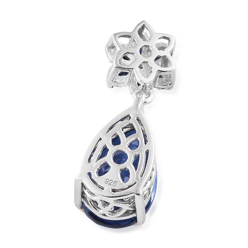 Ceylon Colour Quartz (Pear), Kanchanaburi Blue Sapphire and Natural White Cambodian Zircon Pendant in Platinum and Yellow Gold Overlay Sterling Silver 6.750 Ct