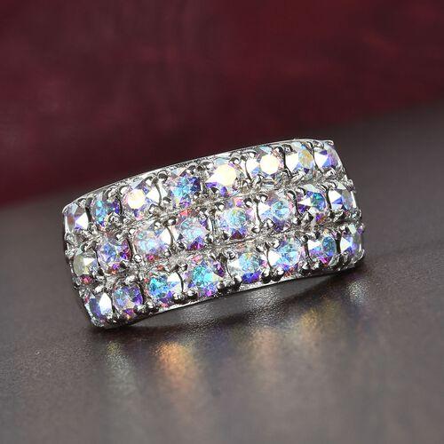 J Francis - Crystal from Swarovski - AB Crystal Three-Row Ring in Platinum Plated