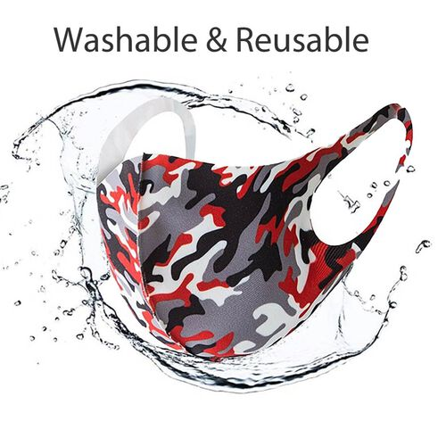 Reusable Washable Face-Mask - Red and Grey