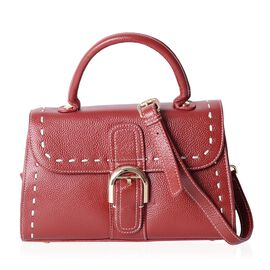 Close Out Deal Designer Brand 100% Genuine Leather Sassy Red Tote Bag with Removable and Adjustable
