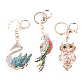 Set of 3 - Simulated Diamond, Simulated White Cats Eye and Multicolour Austrian Crystal Swan, Parrot