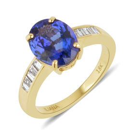 ILIANA 4 Carat AAA Tanzanite and SI GH Diamond Ring in 18K Gold