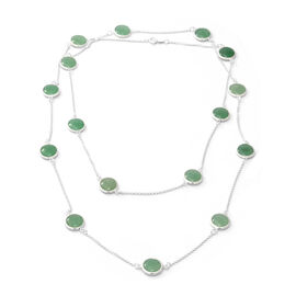 65 Carat Verde Onyx Station Necklace in Silver 13.85 Grams 42 Inch