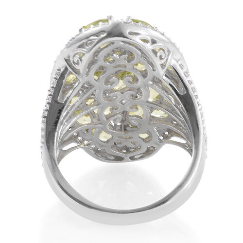 Hebei Peridot (Rnd), Natural Natural Cambodian Zircon Cluster Ring in Platinum Overlay Sterling Silver 8.750 Ct. Silver wt 10.05 Gms.
