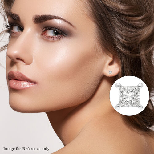 ILIANA 18K White Gold SGL Certified Diamond (SI/G-H) Stud Earrings (with Screw Back) 0.20 Ct.