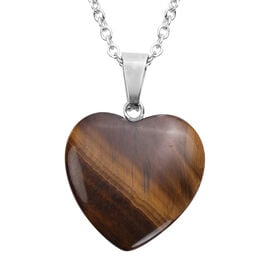 Yellow Tiger Eye Heart Pendant with Chain (Size 20) in Silver Tone 22.00 Ct.