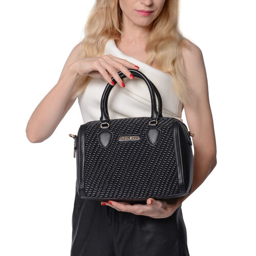 LOCK SOUL Black Colour Corn Grain Textured Satchel Bag with Detachable Shoulder Strap (Size 28x15x21 Cm)