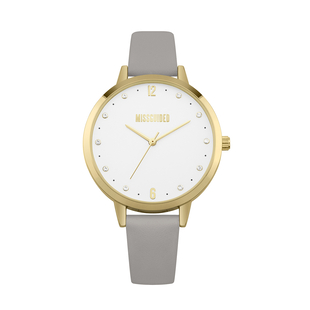 MISSGUIDED Watch with Gold Case, Round White Dial and Grey Padded Strap