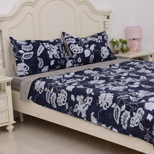 Microfiber Printed Fabric Blue Duvet Cover with Floral Design (Size 225x220 Cm), Fitted Sheet (Size 230x150 Cm) and Blue Pillow Case (Size 75x50 Cm)