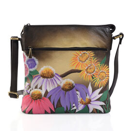 SUKRITI, Meaning Beautiful Creation -  Garden Wonderland Hand Painting 100% Genuine Leather Flower Cross body Handbag with Adjustable Strap (Size 26.5x26.5 Cm)